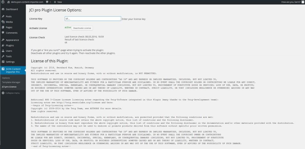JCI PRO Version 3.0.0: licence