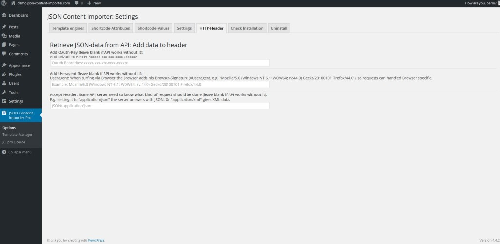 JCI PRO Version 3.0.0: HTTP header
