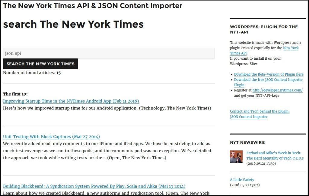 Screenshot: JSON Content Importer meets The New York Times API
